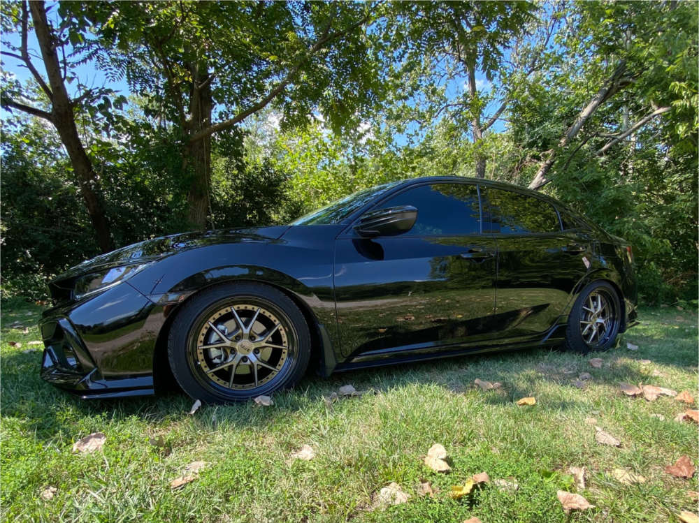 2021 Honda Civic Flush on 18x8.5 38 offset F1R F05 & 235/40 Continental Contiprocontact on Coilovers - Custom Offsets Gallery