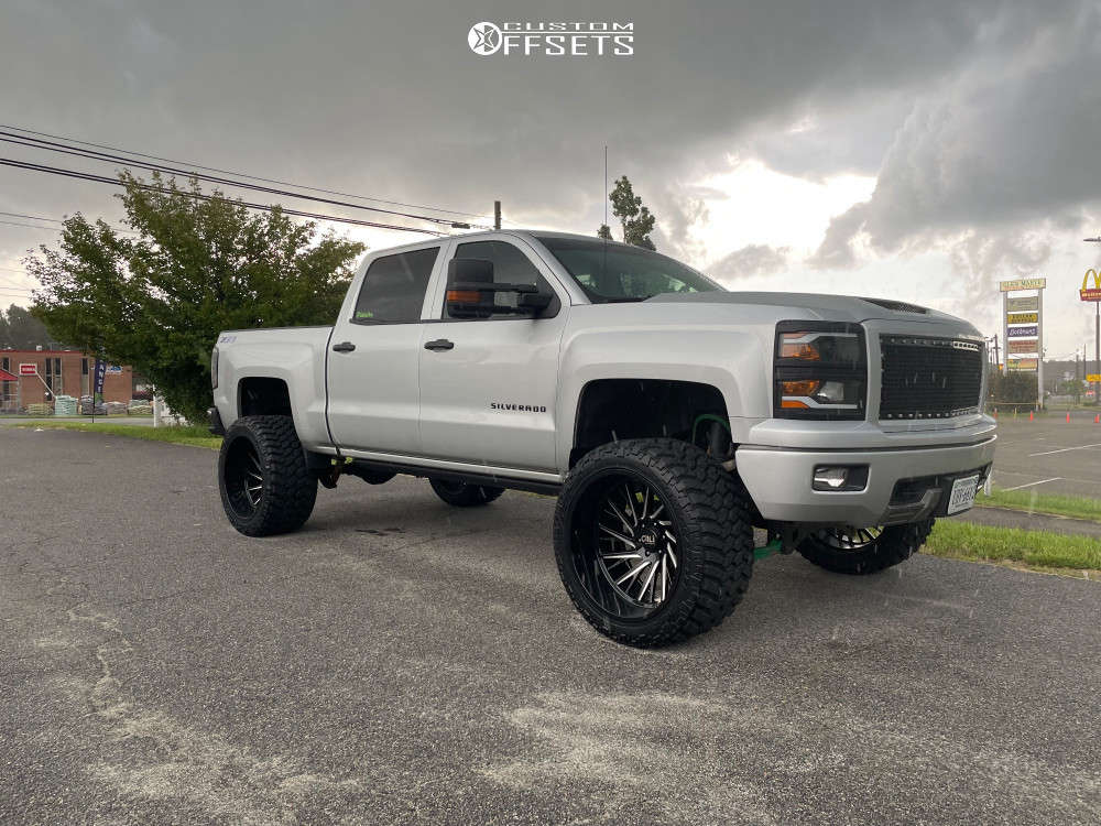 """2014 Chevrolet Silverado 1500 Hella Stance >5"""" on 24x14 -71 offset Cali Offroad Purge & 35""""x14.5"""" Nitto Trail Grappler on Suspension Lift 6"""" - Custom Offsets Gallery"""