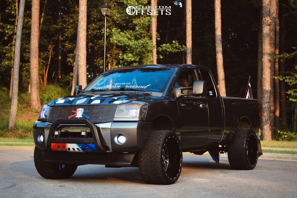 "2007 Nissan Titan Super Aggressive 3""-5"" on 24x14 76 offset TIS 544bm & 33""x14.5"" Venom Power Terra Hunter R/t on Suspension Lift 4"" - Custom Offsets Gallery"