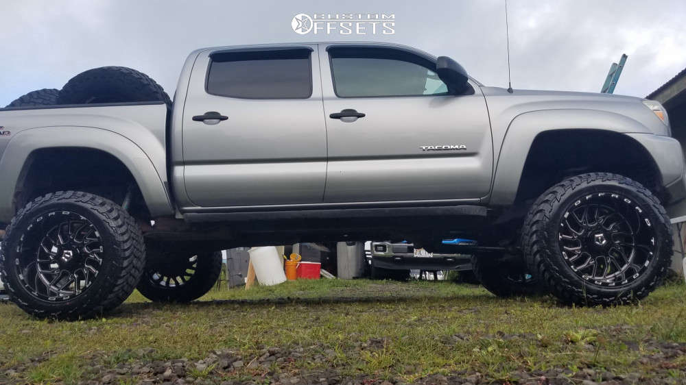 """2014 Toyota Tacoma Aggressive > 1"""" outside fender on 20x12 -44 offset TIS 544bm & 33""""x12.5"""" AMP Mud Terrain Attack Mt A on Suspension Lift 6"""" - Custom Offsets Gallery"""