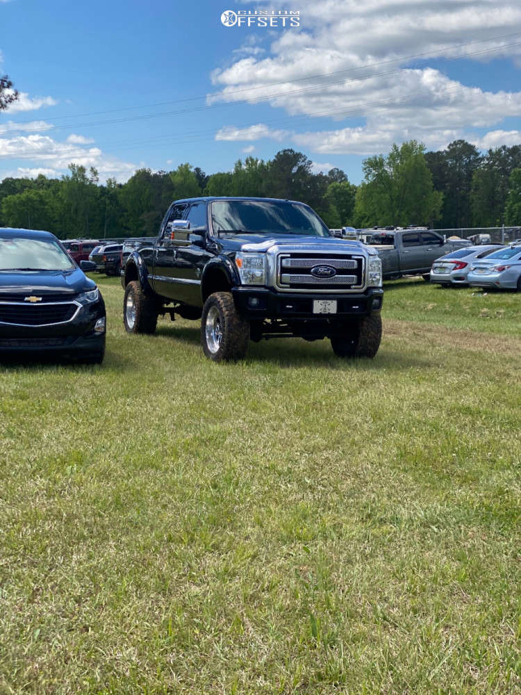 """2014 Ford F-350 Super Duty Aggressive > 1"""" outside fender on 22x10 -24 offset American Force Raptor Ss & 37""""x13.5"""" Nitto Ridge Grapplers on Suspension Lift 4"""" - Custom Offsets Gallery"""