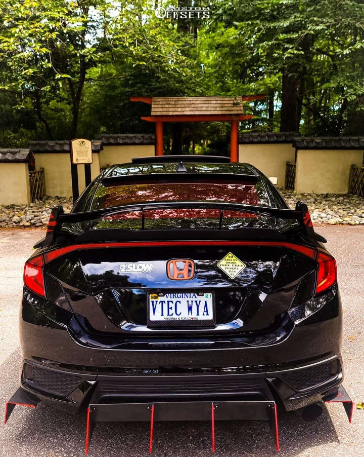 2018 Honda Civic Flush on 18x8.5 38 offset F1R F102 & 245/40 Nankang Ns-25 on Coilovers - Custom Offsets Gallery