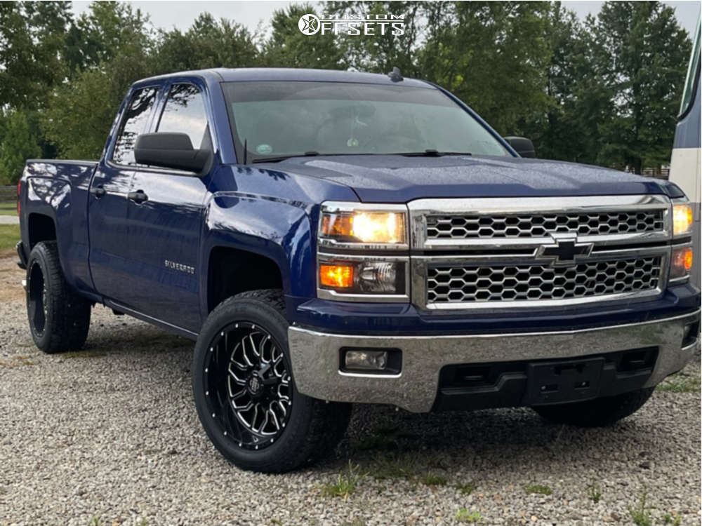 """2014 Chevrolet Silverado 1500 Aggressive > 1"""" outside fender on 20x10 -19 offset Pure Grit Ambition & 31""""x12.5"""" Milestar Patagonia At on Leveling Kit - Custom Offsets Gallery"""