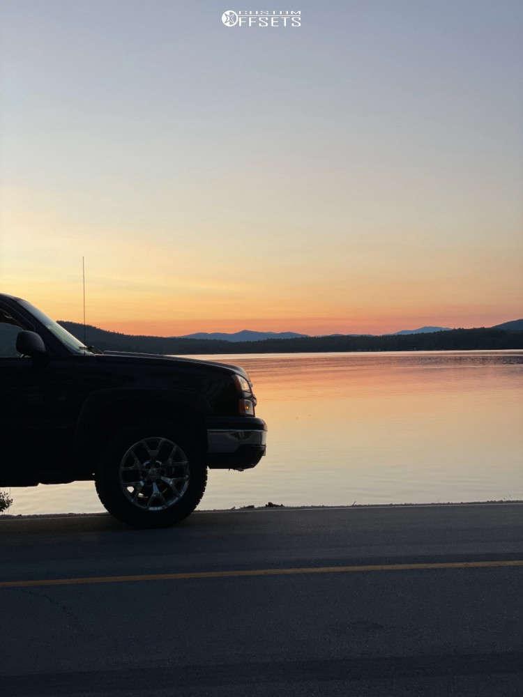 "2006 Chevrolet Silverado 1500 Flush on 20x9.5 20 offset Strada Snowflake Replica & 33""x12.5"" Falken Wild Peak At3w on Stock Suspension - Custom Offsets Gallery"