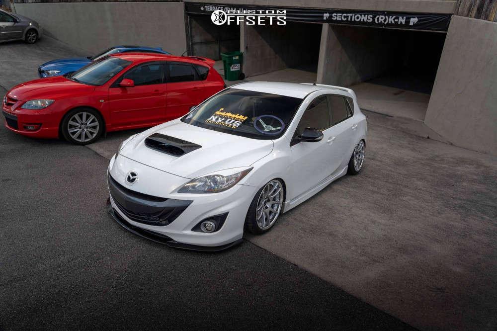 2012 Mazda 3 Nearly Flush on 18x9 28 offset Work Emotion Cr 3p & 215/40 Falken Ziex Ze960 A/s on Air Suspension - Custom Offsets Gallery