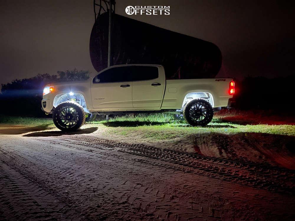 "2020 Chevrolet Colorado Aggressive > 1"" outside fender on 22x12 -44 offset TIS 544bm & 33""x12.5"" Atturo Trail Blade Mt on Suspension Lift 4"" - Custom Offsets Gallery"
