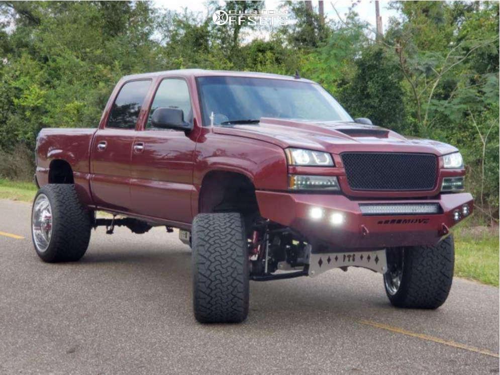 "2006 Chevrolet Silverado 1500 Aggressive > 1"" outside fender on 24x14 -76 offset Fuel Forged Ff41 & 35""x15.5"" Venom Power Terrain Hunter Xt on Suspension Lift 9"" - Custom Offsets Gallery"
