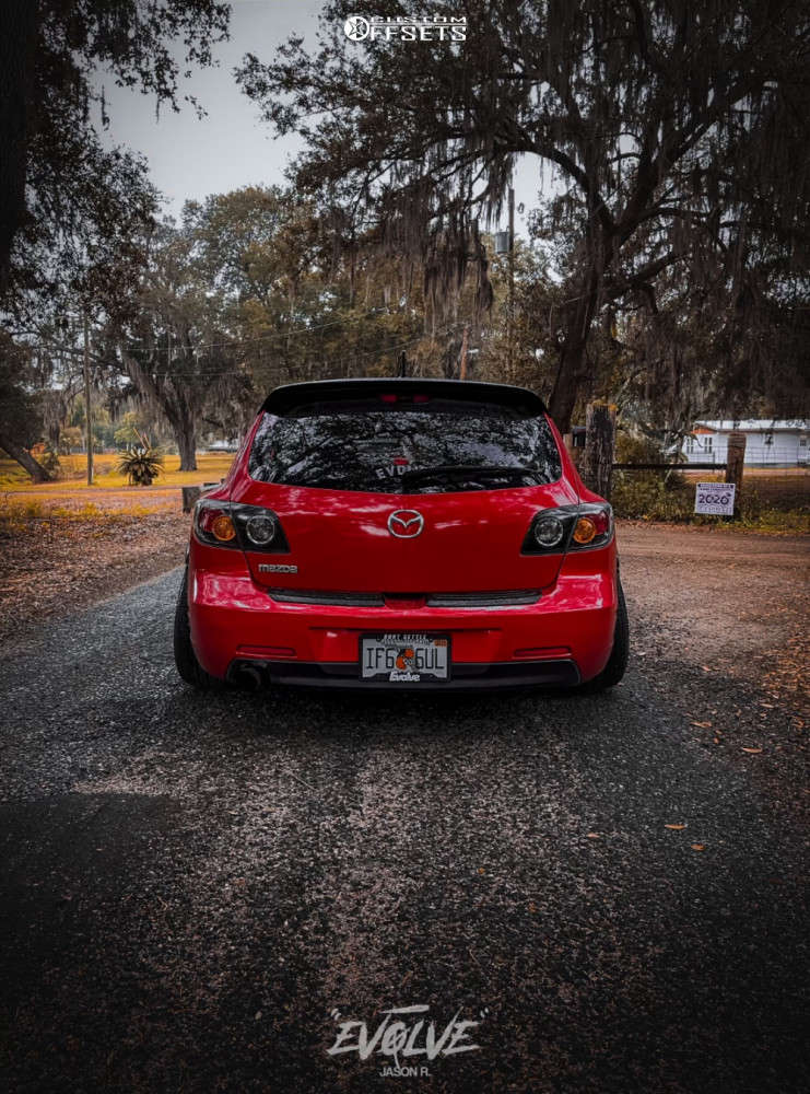 2006 Mazda 3 Tucked on 18x9.5 30 offset JNC Jnc014 & 225/30 Nankang Ns-20 on Coilovers - Custom Offsets Gallery