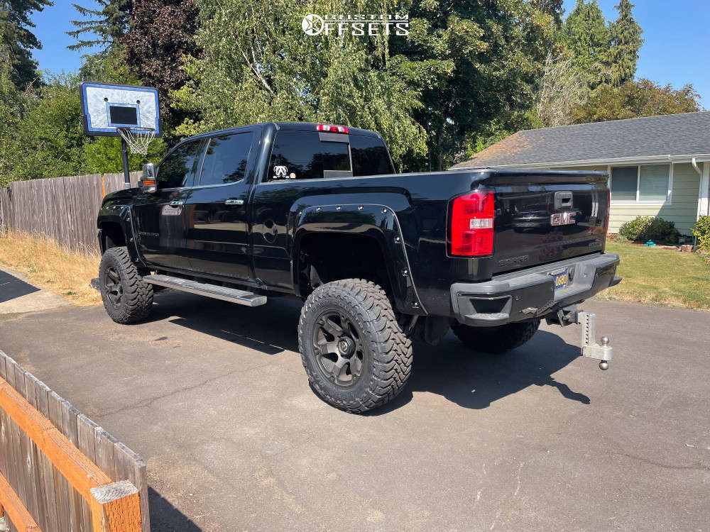 """2016 GMC Sierra 2500 HD Aggressive > 1"""" outside fender on 20x12 -30 offset Fuel Beast & 37""""x12.5"""" Toyo Open Country M/t on Suspension Lift 6.5"""" - Custom Offsets Gallery"""