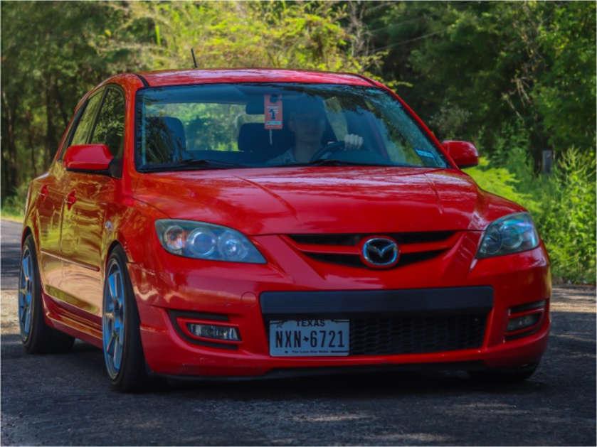 2008 Mazda MazdaSpeed3 Flush on 18x8.5 35 offset Enkei Ts-7 & 225/40 Yokohama Advan Sport As Plus on Lowering Springs - Custom Offsets Gallery