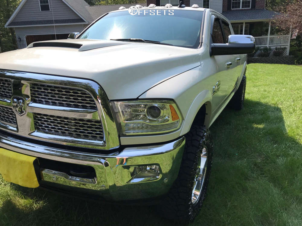 """2018 Ram 3500 Aggressive > 1"""" outside fender on 20x9 0 offset American Force Legend Ss & 35""""x12.5"""" Nitto Ridge Grappler on Leveling Kit - Custom Offsets Gallery"""