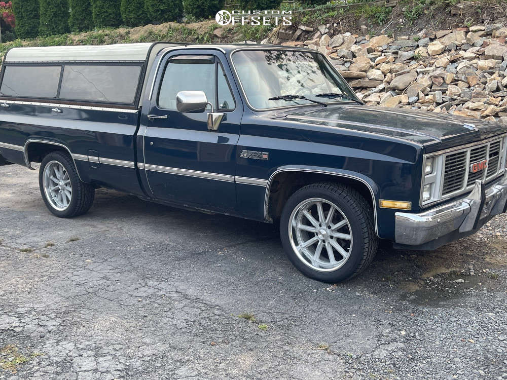 """1986 GMC C1500 Aggressive > 1"""" outside fender on 20x8 0 offset American Racing Bullet Hole & 255/45 Continental Conticrosscontact Lx Sport - Sil on Stock - Custom Offsets Gallery"""