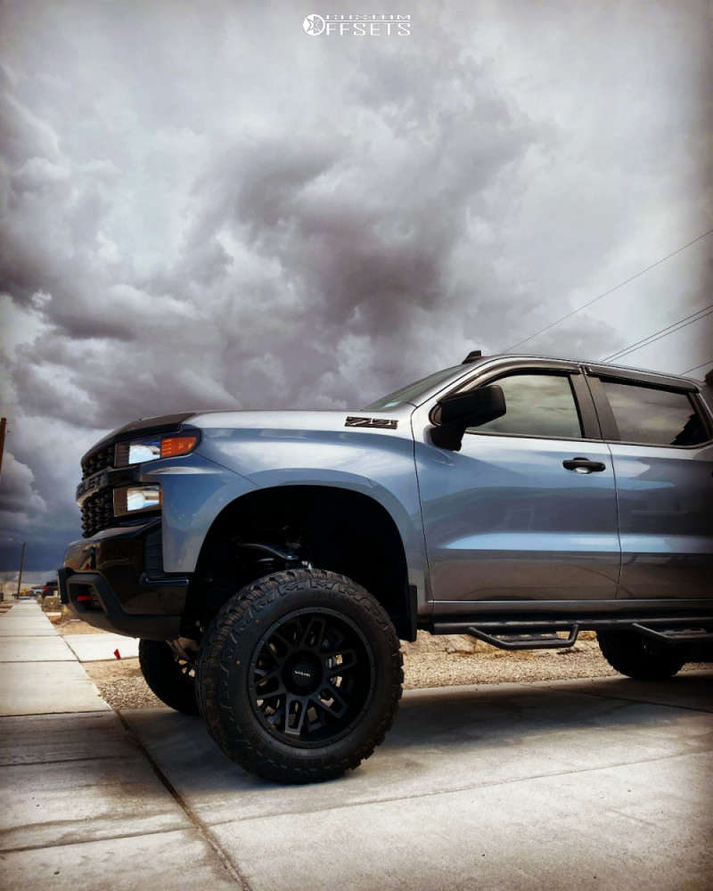 """2021 Chevrolet Silverado 1500 Aggressive > 1"""" outside fender on 20x12 -44 offset Vision Shadow & 35""""x12.5"""" Red Dirt Road M/t on Suspension Lift 6"""" - Custom Offsets Gallery"""