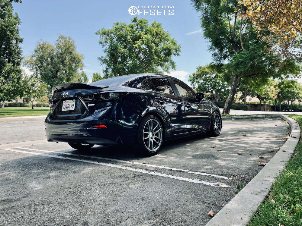 2015 Mazda 3 Nearly Flush on 18x8.5 35 offset AVID1 Av32 & 215/45 Landsail Ls588 on Lowering Springs - Custom Offsets Gallery