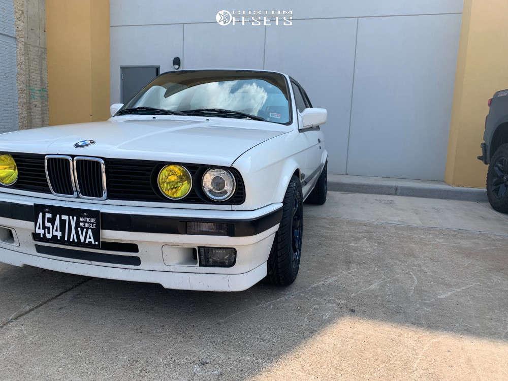 1991 BMW 318is Flush on 15x8 28 offset Gram Lights 57dr & 225/50 Kumho Ecsta Ast on Lowering Springs - Custom Offsets Gallery