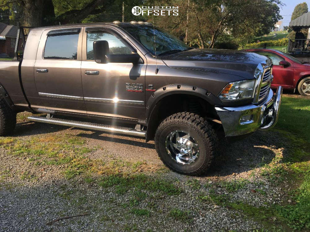 """2014 Ram 2500 Aggressive > 1"""" outside fender on 18x9.5 -12 offset Full Throttle Ft-6052 & 35""""x12.5"""" Mud Claw Mt on Suspension Lift 4"""" - Custom Offsets Gallery"""