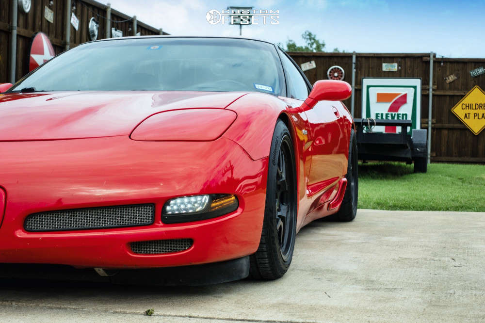 2002 Chevrolet Corvette Flush on 18x10.5 58 offset SpeedLine C5Z & 255/35 Continental Extreme Contact Sport on Coilovers - Custom Offsets Gallery