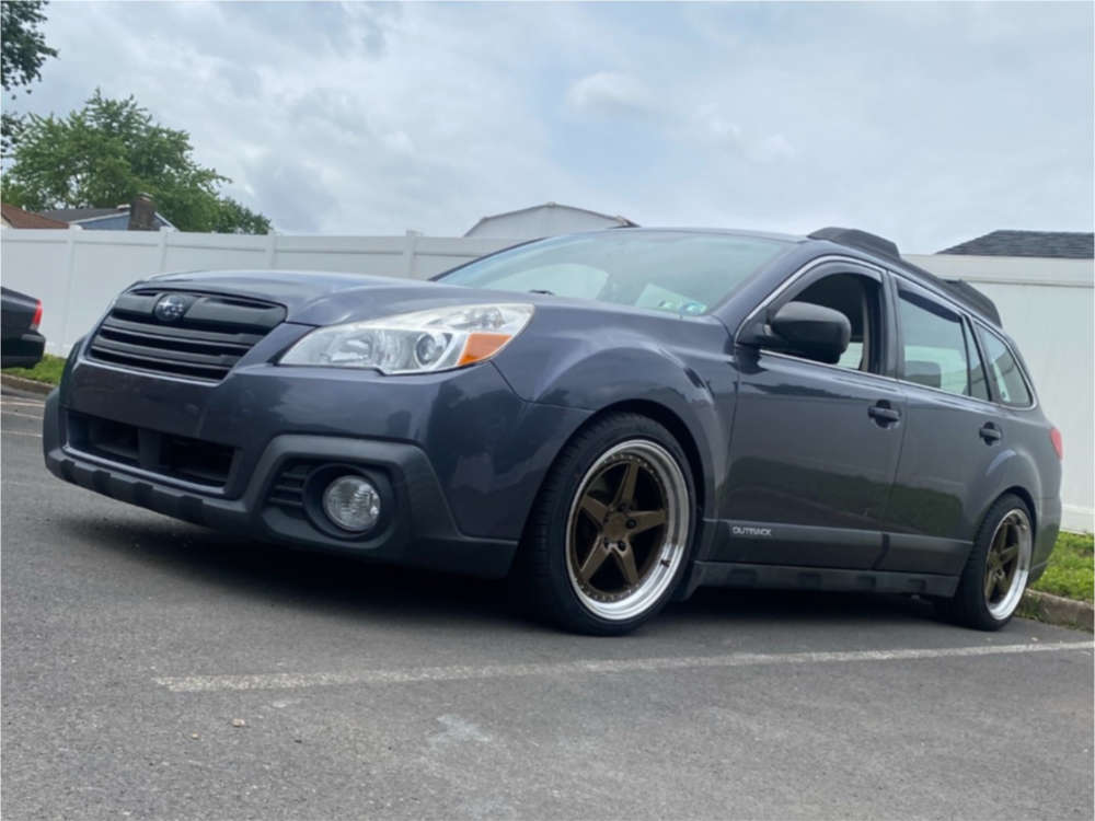 2014 Subaru Outback Poke on 18x8.5 35 offset Aodhan Ds05 & 225/40 Lexani  on Coilovers - Custom Offsets Gallery