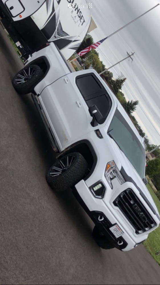 """2021 GMC Sierra 1500 Aggressive > 1"""" outside fender on 22x10 -19 offset Fuel Contra D615 & 285/45 Cooper Discoverer Rugged Trek on Stock Suspension - Custom Offsets Gallery"""