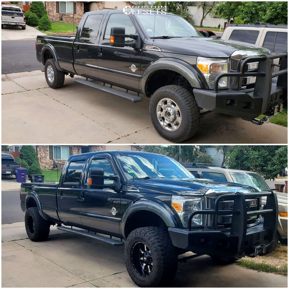 """2015 Ford F-350 Super Duty Aggressive > 1"""" outside fender on 18x10 -24 offset Moto Metal Mo970 & 35""""x12.5"""" Goodyear All Terrain on Suspension Lift 2.5"""" - Custom Offsets Gallery"""