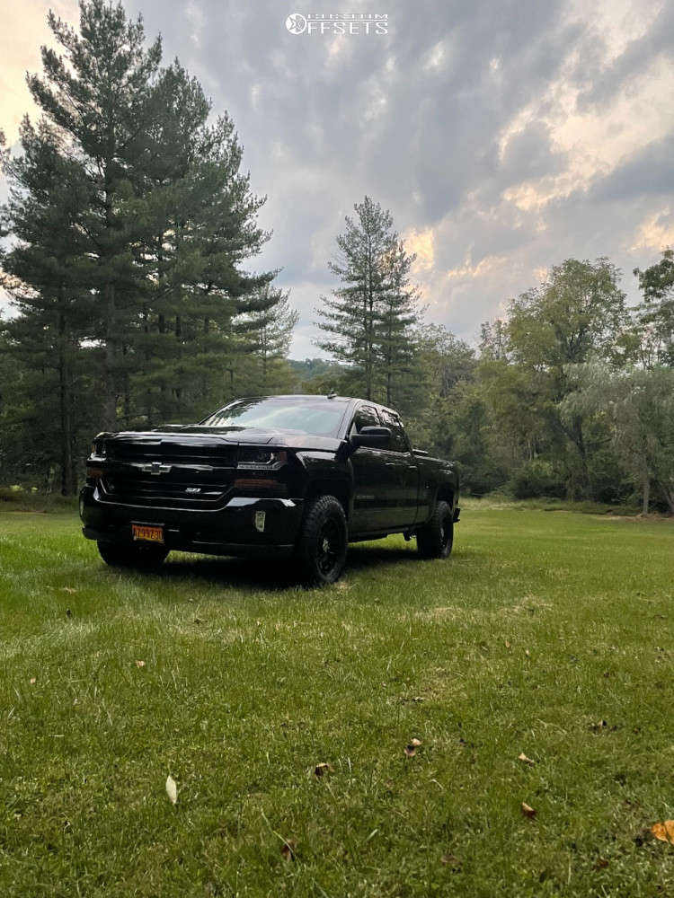"""2017 Chevrolet Silverado 1500 Aggressive > 1"""" outside fender on 17x9 -12 offset Anthem Off-Road Liberty & 285/70 Falken Wildpeak At3w on Stock Suspension - Custom Offsets Gallery"""