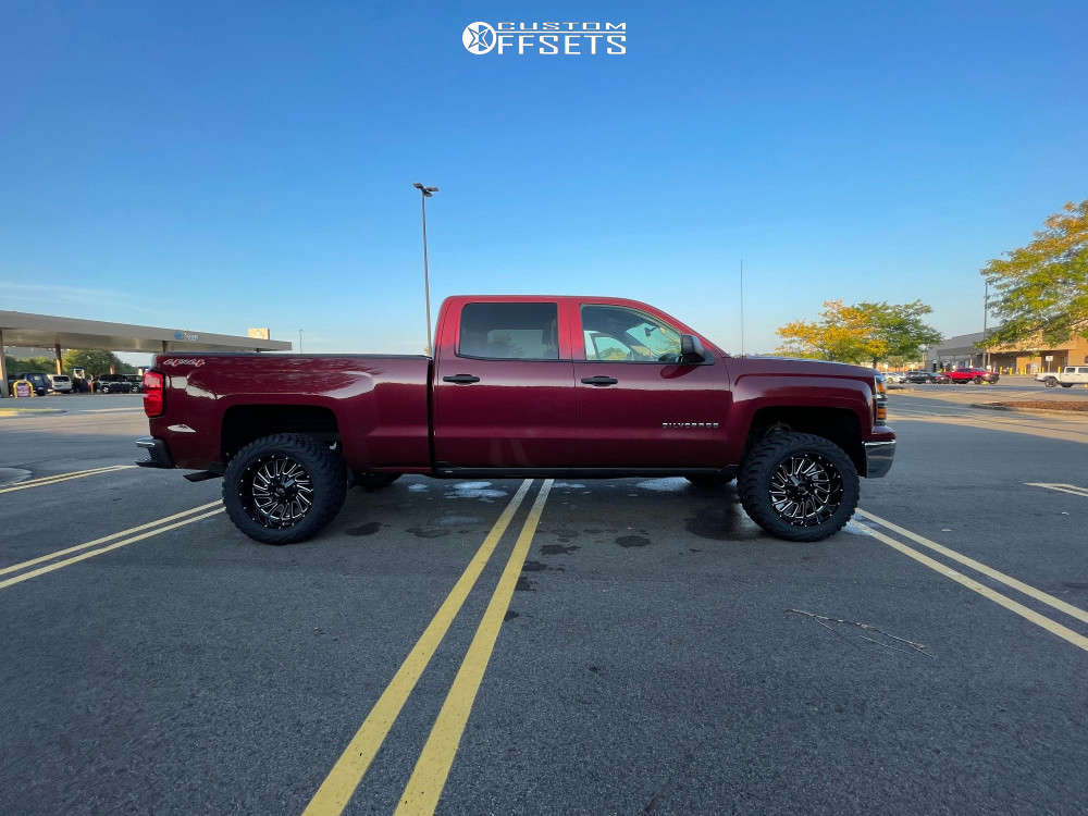 """2014 Chevrolet Silverado 1500 Aggressive > 1"""" outside fender on 20x10 -19 offset Hardrock Overdrive & 33""""x12.5"""" AMP Mud Terrain Attack Mt A on Suspension Lift 3"""" - Custom Offsets Gallery"""