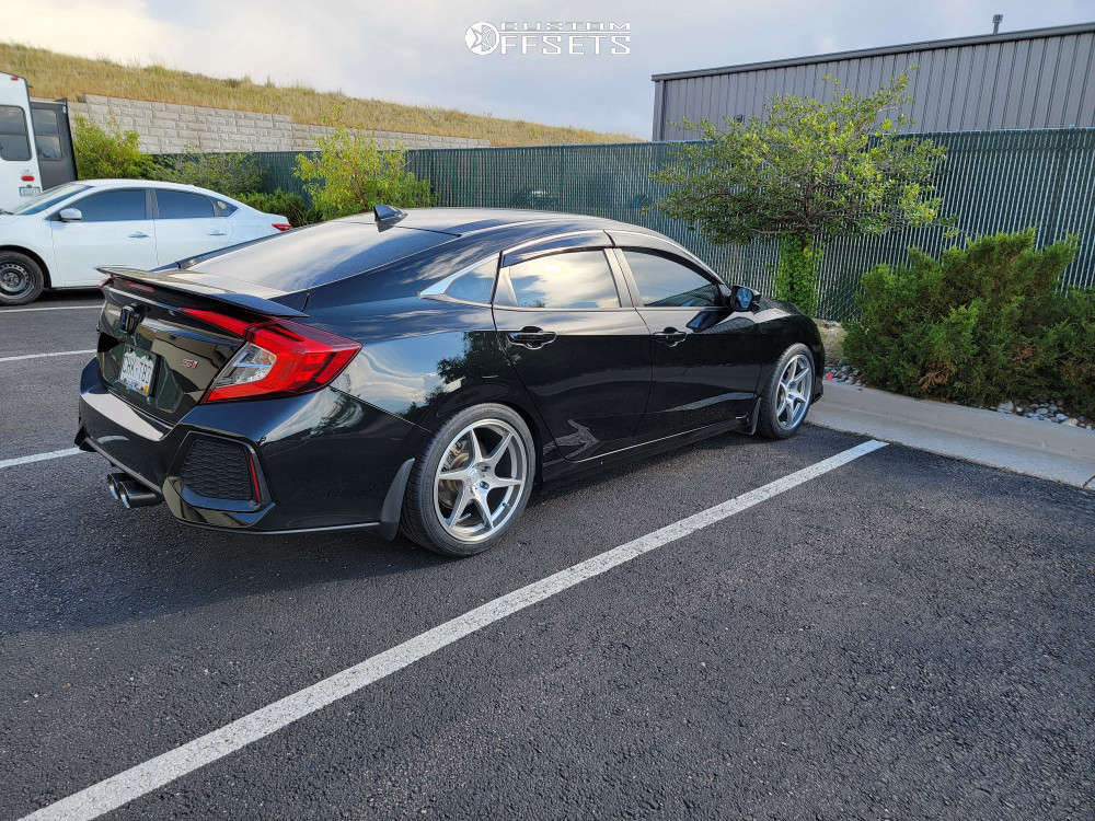 2019 Honda Civic Flush on 18x8.5 30 offset Artisa ArtFormed Titan & 235/40 Michelin Pilot Sport A/s 4 on Lowering Springs - Custom Offsets Gallery