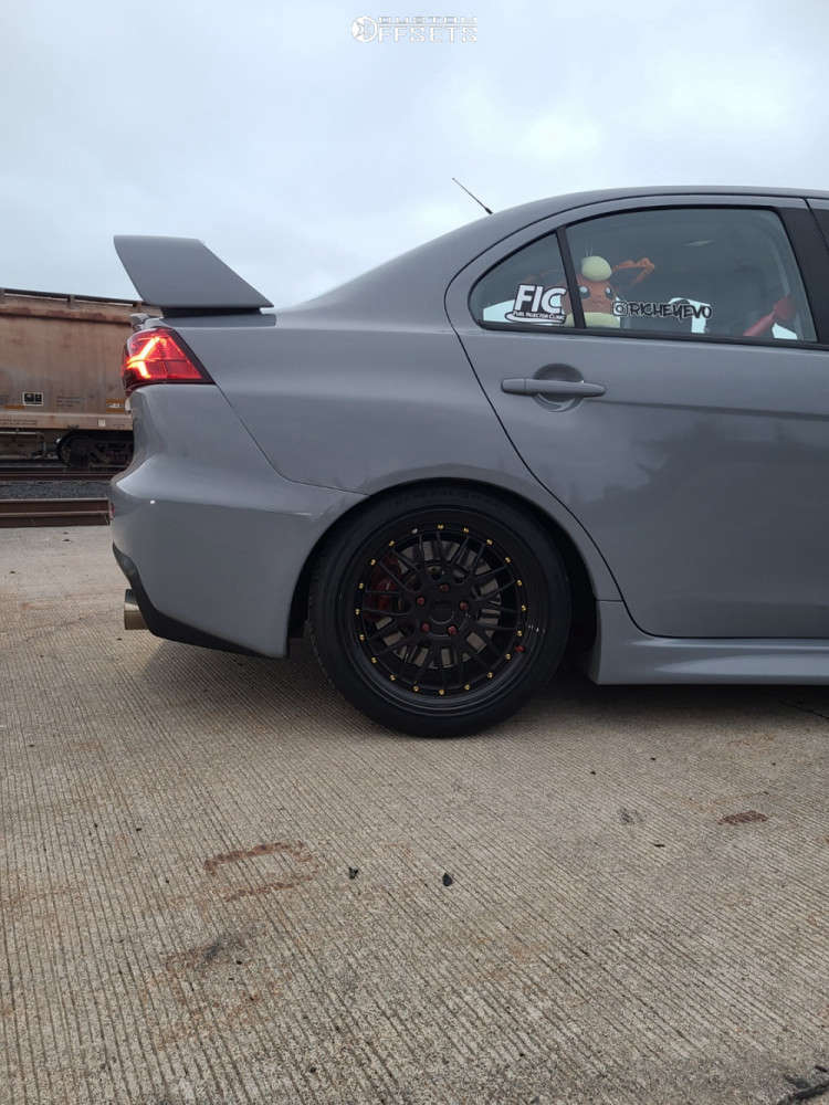 2013 Mitsubishi Lancer HellaFlush on 18x9.5 22 offset Vordoven Forme 19 & 245/35 General G-max As-05 on Coilovers - Custom Offsets Gallery