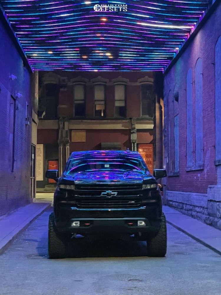 "2019 Chevrolet Silverado 1500 Aggressive > 1"" outside fender on 20x12 -44 offset TIS 544bm & 35""x12.5"" Nitto Trail Grappler on Suspension Lift 6"" - Custom Offsets Gallery"