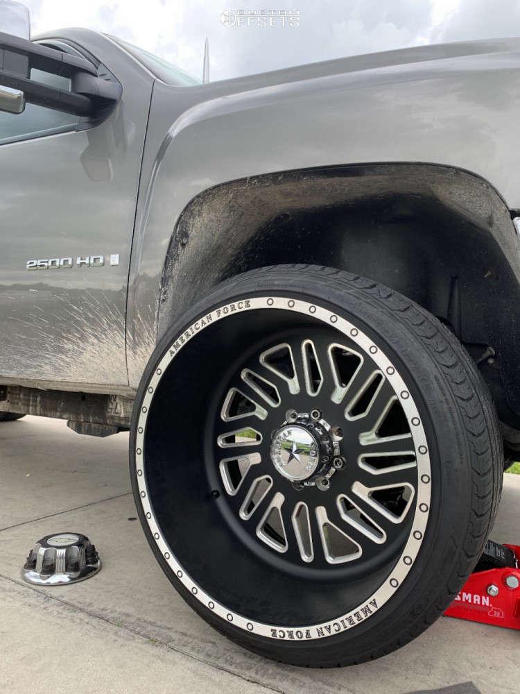 "2007 Chevrolet Silverado 2500 HD Hella Stance >5"" on 24x14 -76 offset American Force Afw & 33""x12.5"" Atrezzo Sva1 on Stock Suspension - Custom Offsets Gallery"