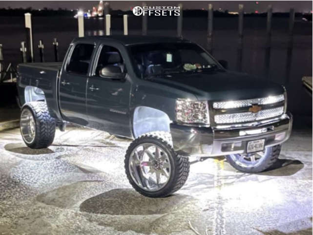 """2013 Chevrolet Silverado 1500 Hella Stance >5"""" on 24x14 -76 offset TIS 551P & 35""""x13.5"""" AMP Mud Terrain Attack M/t A on Suspension Lift 7.5"""" - Custom Offsets Gallery"""