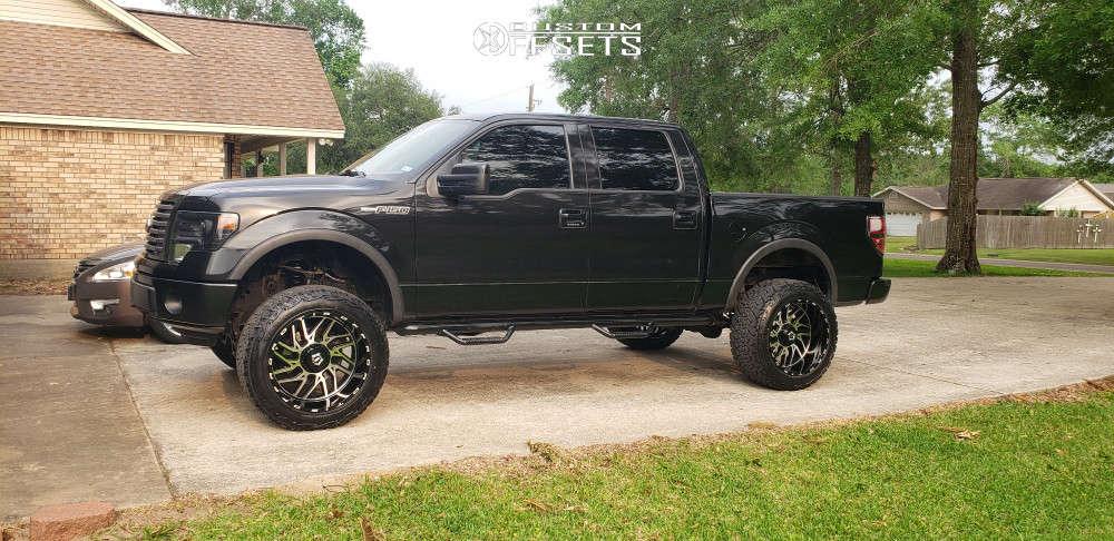 """2012 Ford F-150 Aggressive > 1"""" outside fender on 22x12 -44 offset Tis 544bm & 35""""x12.5"""" Venom Power Terrain Hunter X/t on Suspension Lift 6"""" - Custom Offsets Gallery"""