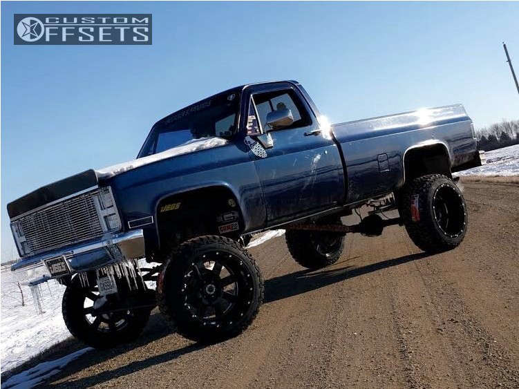 """1985 Chevrolet C10 Hella Stance >5"""" on 22x14 -76 offset Moto Metal Mo962 & 35""""x12.5"""" Mile King Mk868 Mud Champ on Suspension Lift 12"""" - Custom Offsets Gallery"""