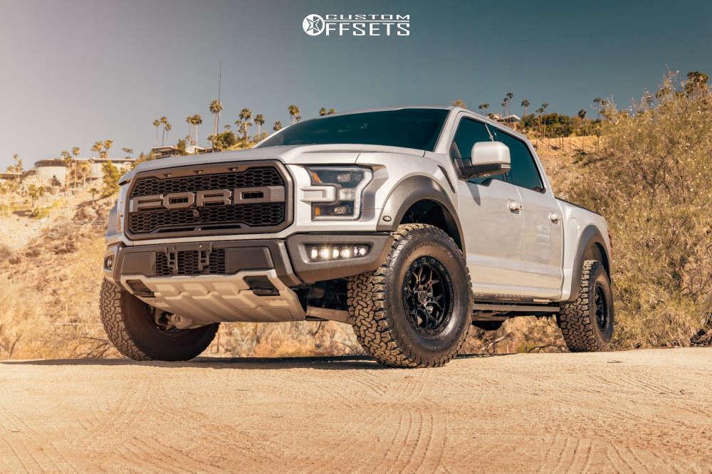 "2018 Ford Raptor Aggressive > 1"" outside fender on 17x9 0 offset VenomRex Vr601bl & 315/70 BFGoodrich All Terrain T/a Ko2 on Stock Suspension - Custom Offsets Gallery"