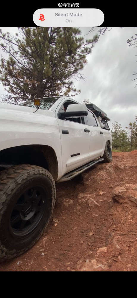 """2021 Toyota Tundra Slightly Aggressive on 18x9 25 offset Method Mr701 & 295/70 Toyo Tires Open Country M/t on Suspension Lift 2.5"""" - Custom Offsets Gallery"""