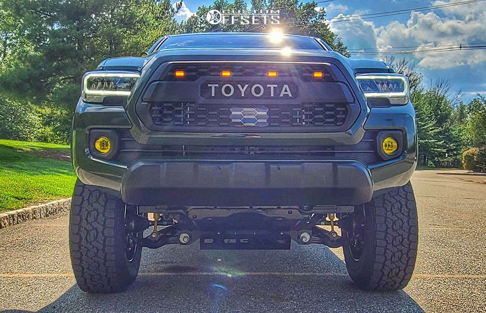 """2021 Toyota Tacoma Slightly Aggressive on 17x9 0 offset Motiv Millennium & 285/11.5 Toyo Open Country A/t Iii on Suspension Lift 4.5"""" - Custom Offsets Gallery"""