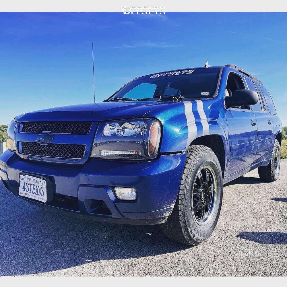 "2006 Chevrolet Trailblazer EXT Slightly Aggressive on 17x8.5 39 offset Voxx Turin & 31""x10.5"" Sailun Terramax At 4s on Stock Suspension - Custom Offsets Gallery"