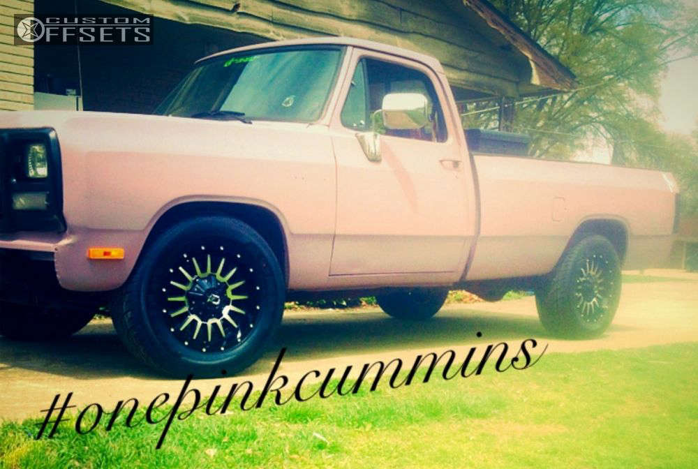 """1992 Dodge D250 Slightly Aggressive on 18x9 0 offset Dropstars 646mb and 31""""x10.5"""" Kumho Ecsta STX on Level 2"""" Drop Rear - Custom Offsets Gallery"""
