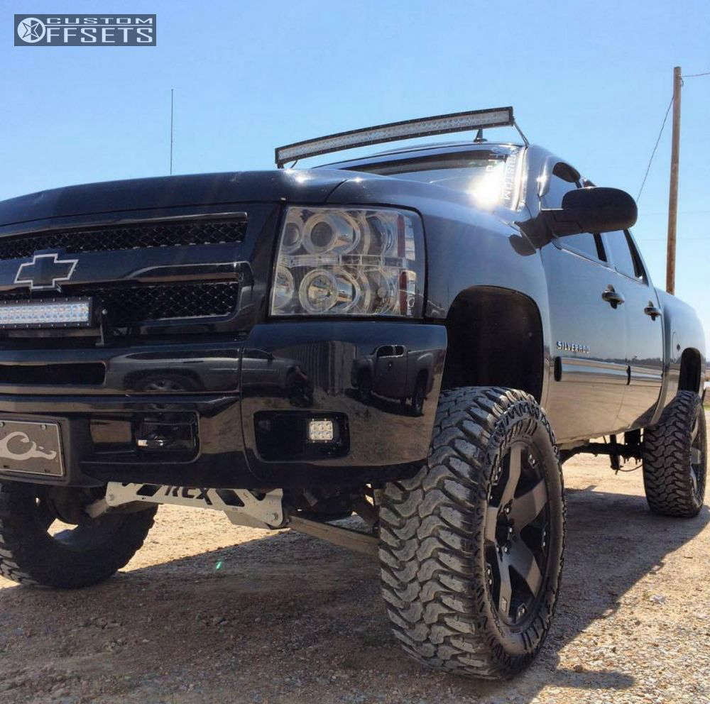 "2012 Chevrolet Silverado 1500 Aggressive > 1"" outside fender on 20x9 -12 offset XD Rockstar and 35""x12.5"" Lexani Mud Beast MT on Suspension Lift 8"" - Custom Offsets Gallery"