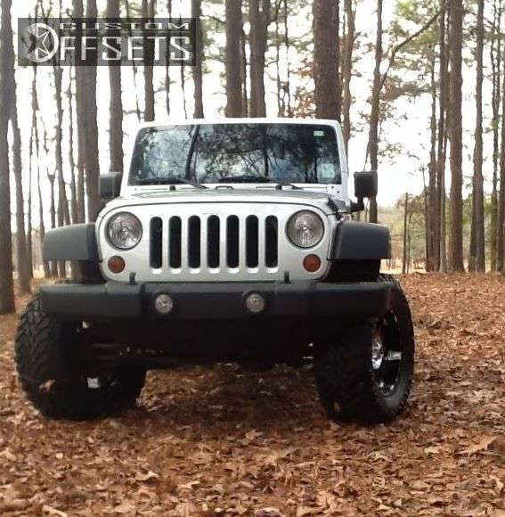 """2010 Jeep Wrangler Flush on 18x9 -12 offset XD Spy & 35""""x12.5"""" Toyo Tires Open Country M/T on Suspension Lift 4"""" - Custom Offsets Gallery"""