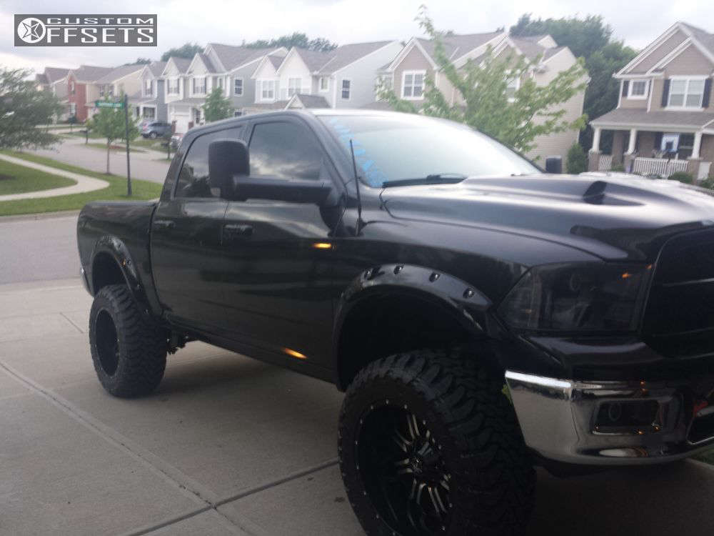 """2009 Ram 1500 Super Aggressive 3""""-5"""" on 22x12 -44 offset TIS 535 and 37""""x13.5"""" Toyo Tires Open Country M/T on Suspension Lift 7.5"""" - Custom Offsets Gallery"""
