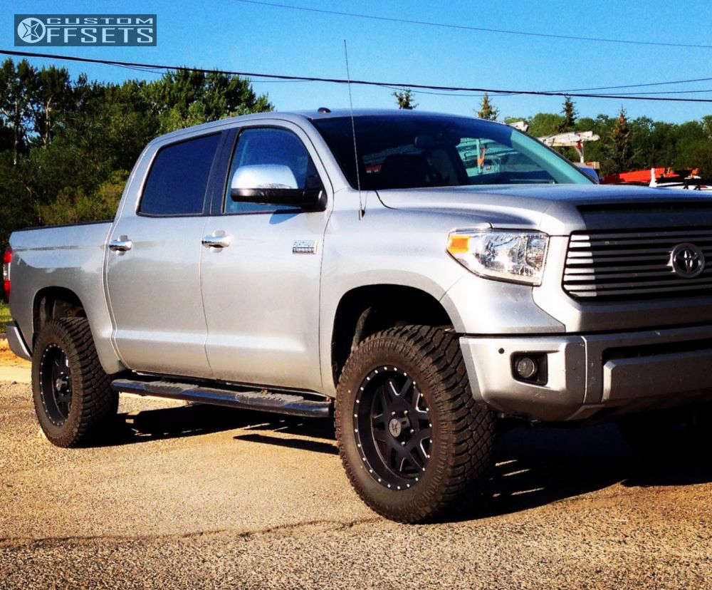 """2015 Toyota Tundra Aggressive > 1"""" outside fender on 20x9 18 offset American Outlaw Marshal and 35""""x12.5"""" Atturo Trail Blade XT on Leveling Kit - Custom Offsets Gallery"""