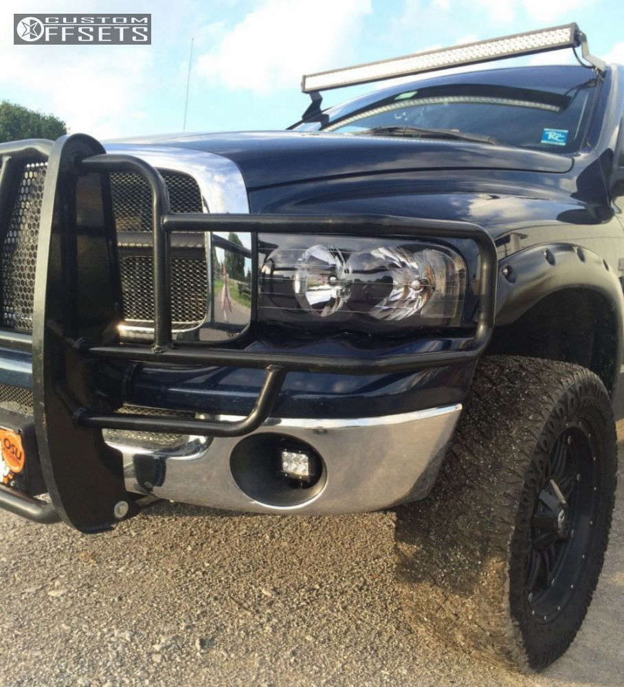 """2004 Dodge Ram 1500 Aggressive > 1"""" outside fender on 20x9 1 offset Fuel Hostage and 305/55 Nitto Dune Grappler on Leveling Kit - Custom Offsets Gallery"""