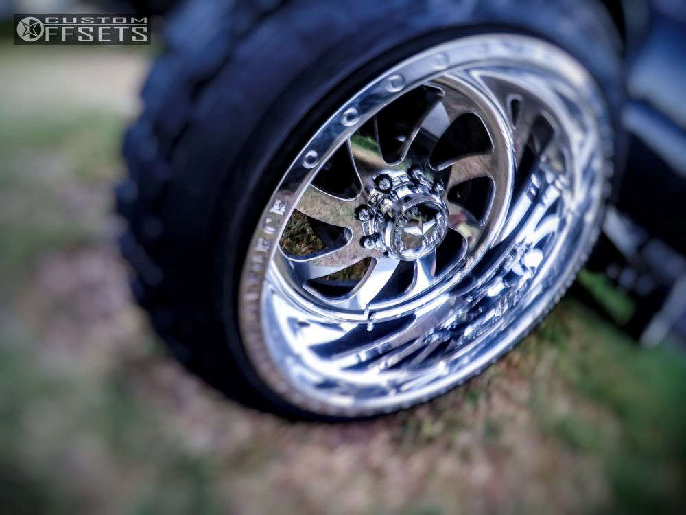 """2005 GMC Sierra 1500 HD Hella Stance >5"""" on 22x14 -70 offset American Force BLADE SS & 35""""x12.5"""" Toyo Tires Open Country M/T on Suspension Lift 7.5"""" - Custom Offsets Gallery"""
