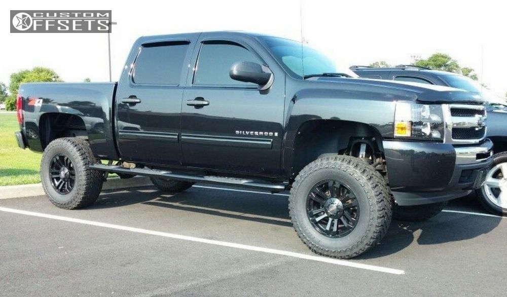 "2009 Chevrolet Silverado 1500 Aggressive > 1"" outside fender on 20x9 0 offset Mb Wheels Tko & 305/70 Cooper Discoverer STT on Suspension Lift 7.5"" - Custom Offsets Gallery"