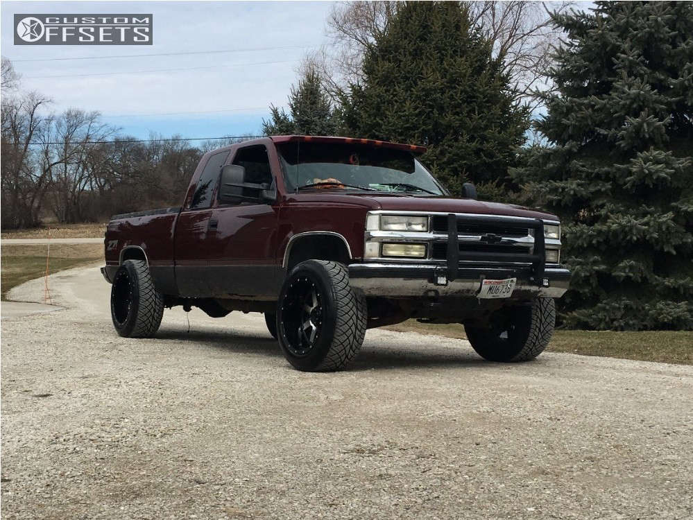 """1997 Chevrolet K1500 Aggressive > 1"""" outside fender on 20x12 -44 offset Gear Off-Road Big Block & 305/50 Nitto Nt420s on Stock Suspension - Custom Offsets Gallery"""