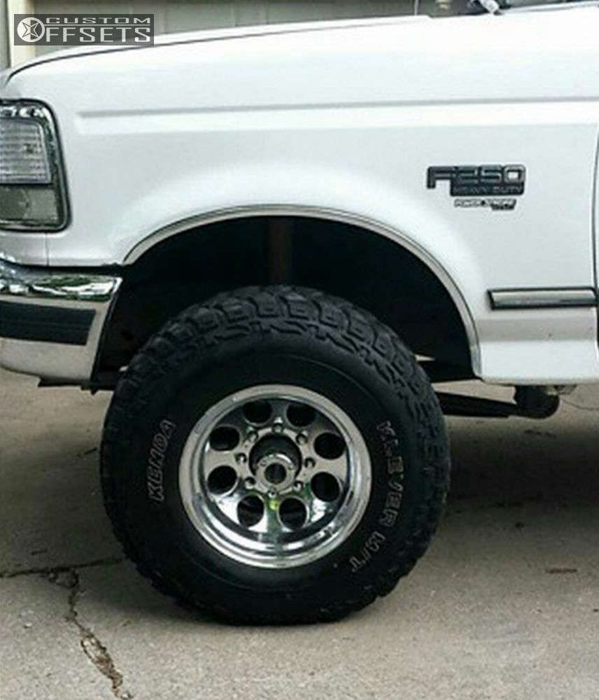 """1997 Ford F-250 Aggressive > 1"""" outside fender on 16x10 -38 offset Alloy Ion Style 171 and 285/75 Kenda Klever MT on Leveling Kit - Custom Offsets Gallery"""