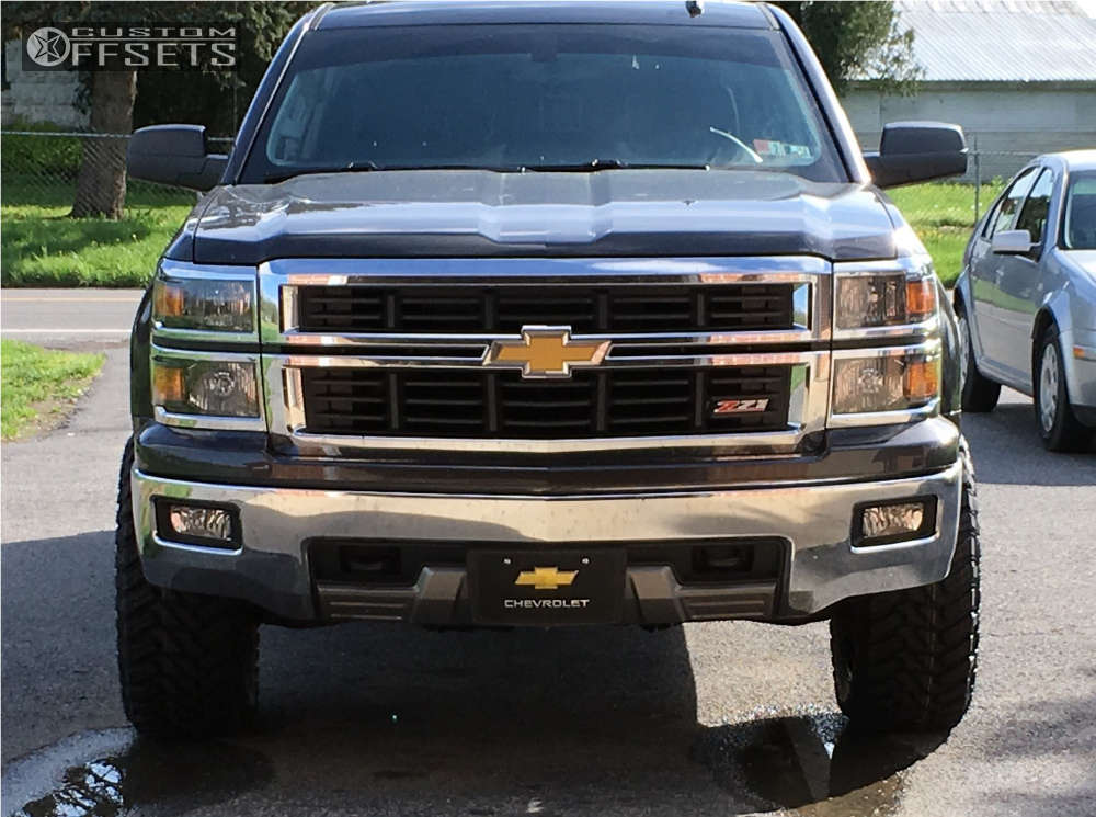 """2014 Chevrolet Silverado 1500 Aggressive > 1"""" outside fender on 20x10 -24 offset Havok H109 and 33""""x12.5"""" Atturo Trail Blade MT on Leveling Kit & Body Lift - Custom Offsets Gallery"""