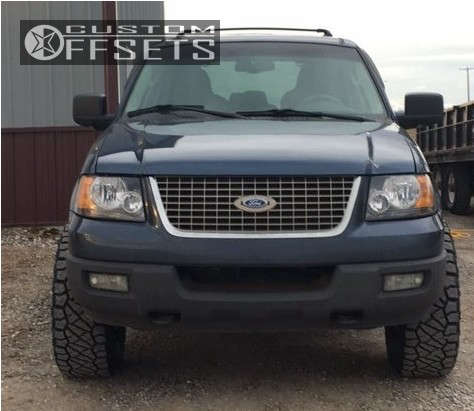 """2003 Ford Expedition Aggressive > 1"""" outside fender on 17x9 -12 offset Moto Metal Mo970 & 35""""x12.5"""" Nitto Ridge Grappler on Suspension Lift 3.5"""" - Custom Offsets Gallery"""