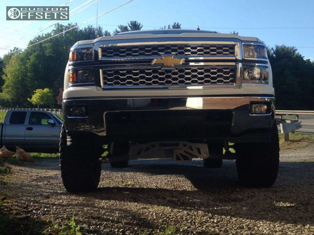"2014 Chevrolet Silverado 1500 Slightly Aggressive on 20x9 0 offset Dropstars 645v & 35""x12.5"" Mastercraft Courser Mxt on Suspension Lift 7"" - Custom Offsets Gallery"